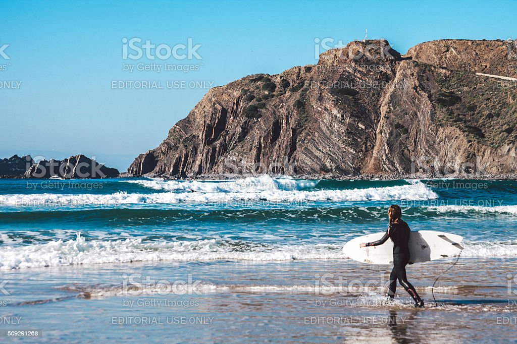 Surfing in Portugal. stock photo
