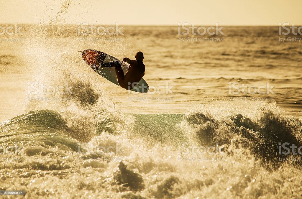 Surfing in sea. stock photo