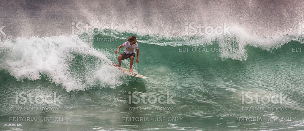 Surfing in Weligama, Sri Lanka stock photo
