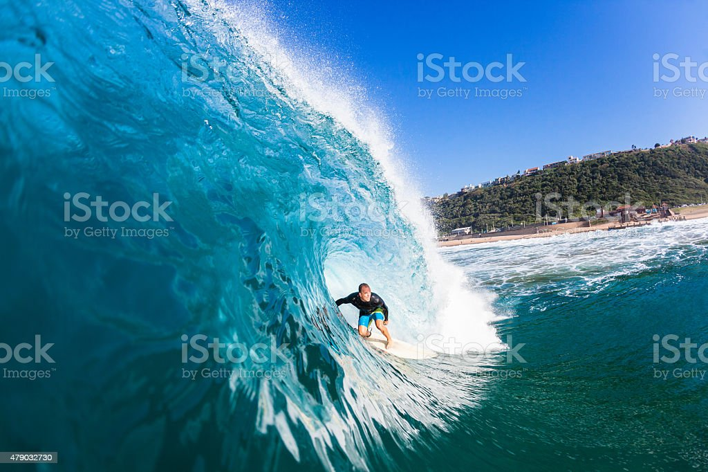 Surfing Inside Wave stock photo