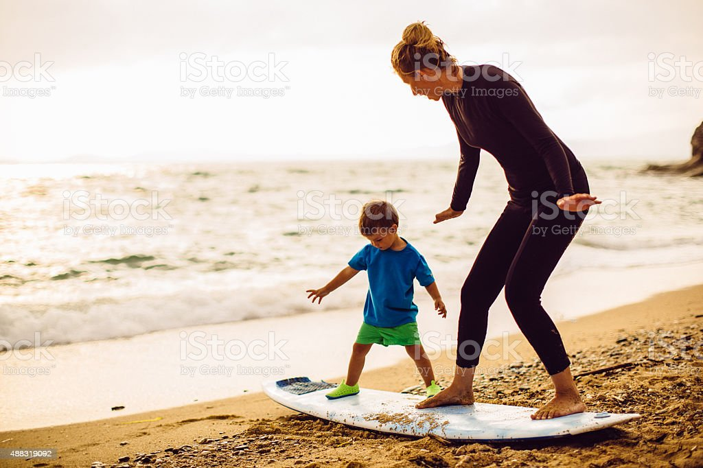Surfing lessons stock photo