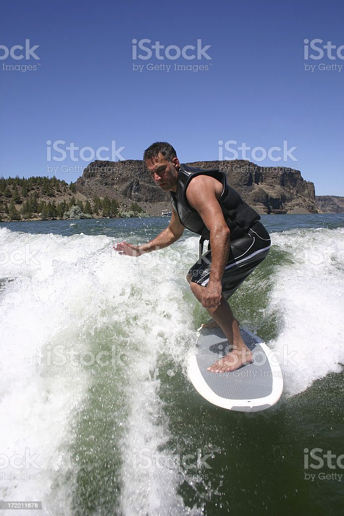 Surfing on Lake Billy Chinook royalty-free stock photo