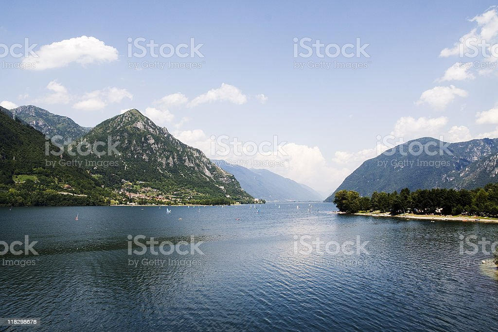 Surfing on the lake royalty-free stock photo