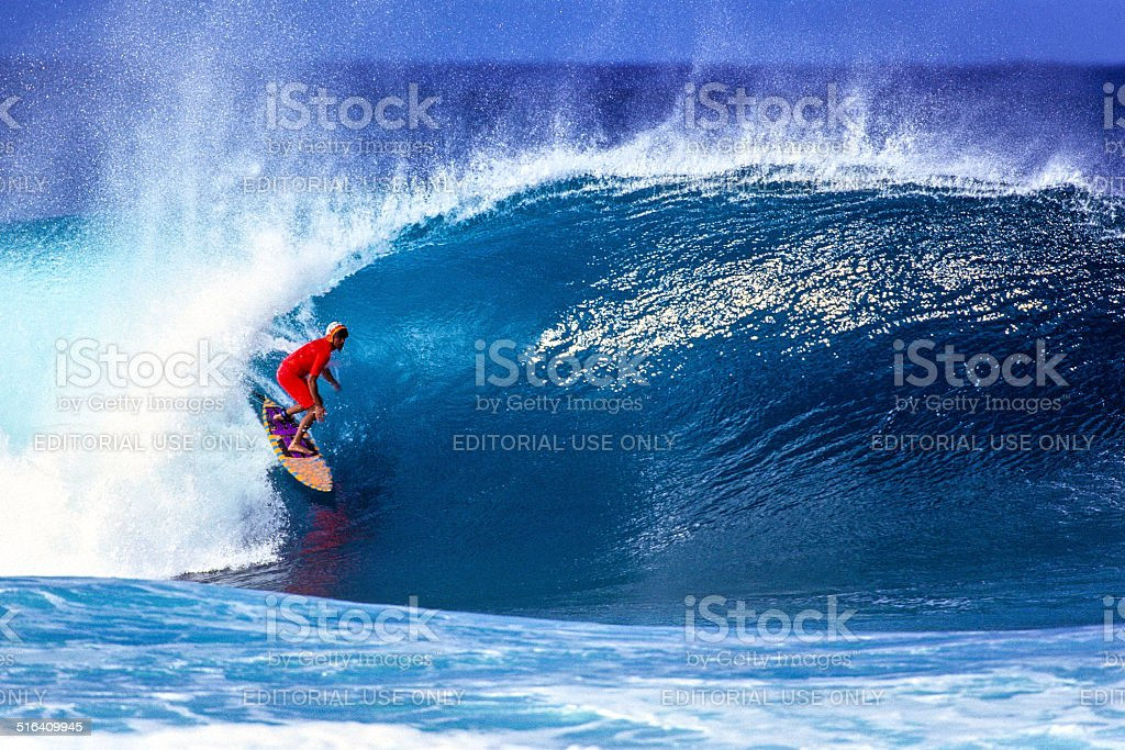 Surfing on the North Shore stock photo