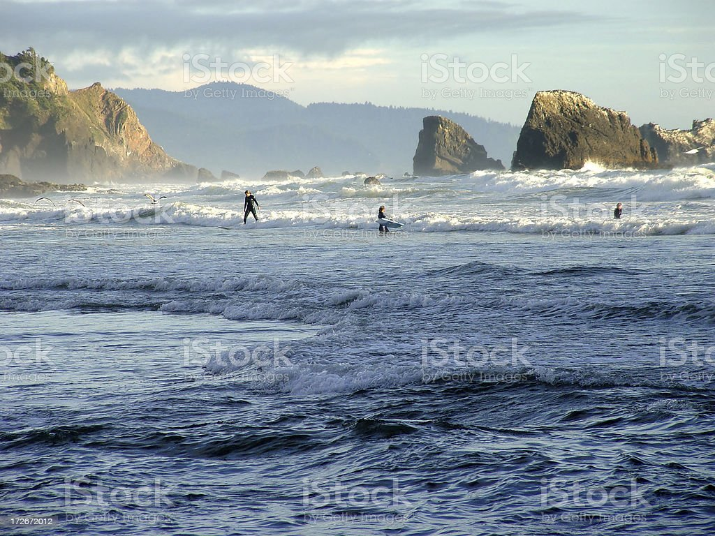 Surfing Oregon's Coast royalty-free stock photo