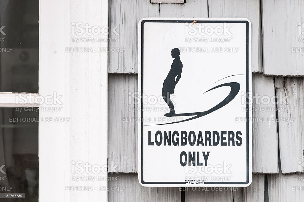 Surfing Sign – Longboarders Only stock photo