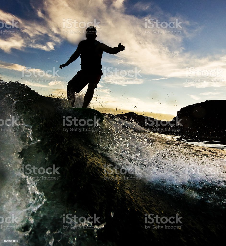 Surfing Silhouette stock photo