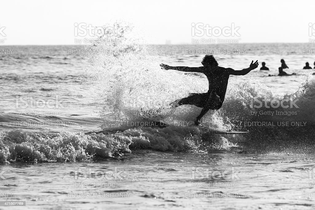 Surfing Silhouette royalty-free stock photo
