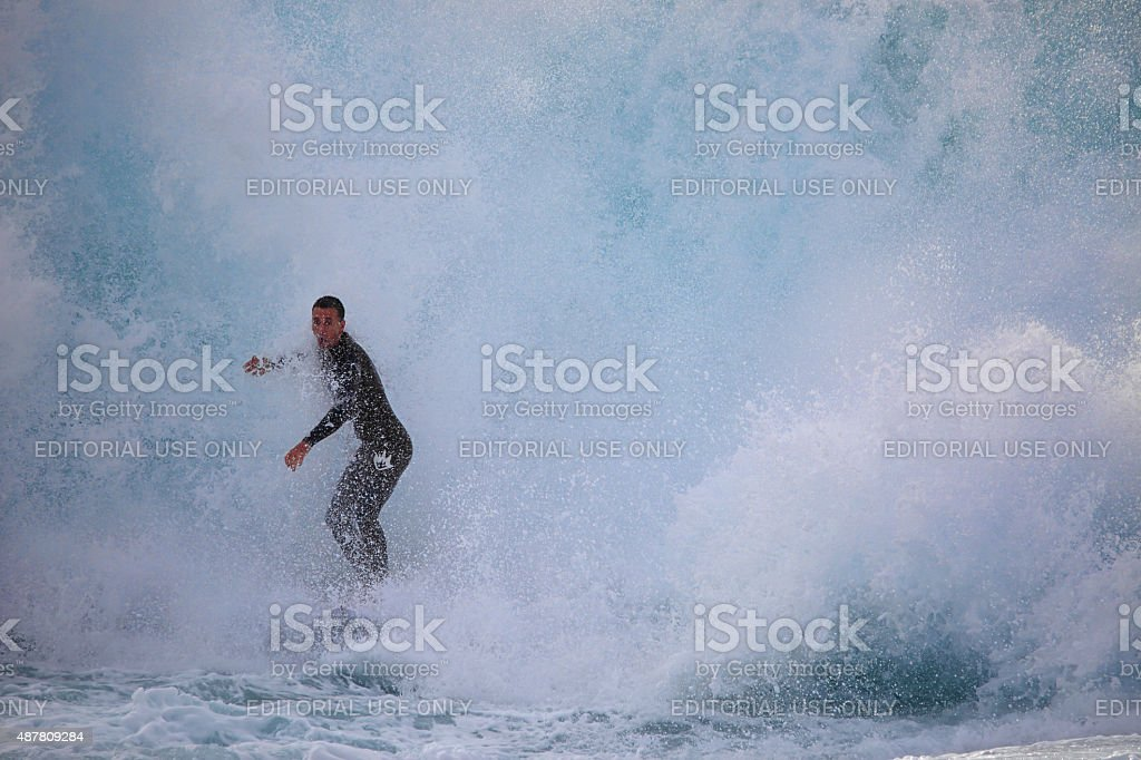 Surfing Solander stock photo