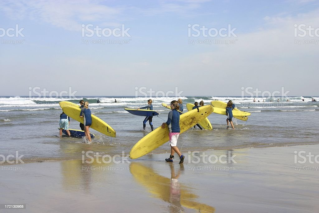 Surfing students in Cornwall England stock photo