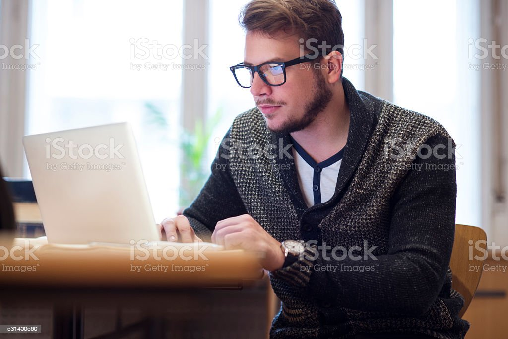 Surfing the internet stock photo