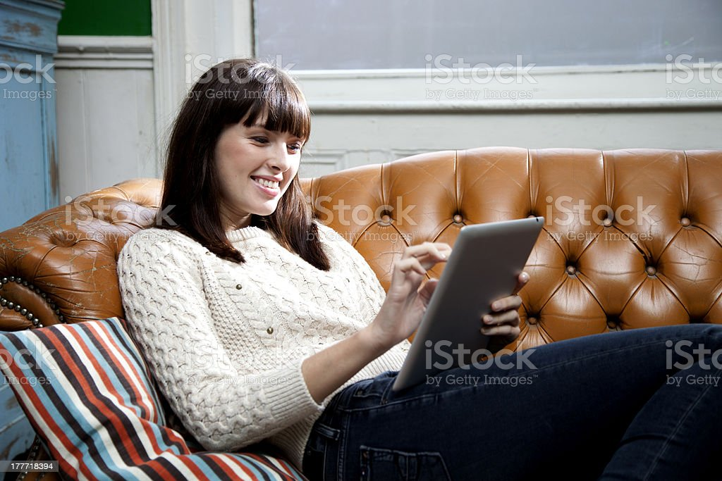 Surfing the net at home royalty-free stock photo
