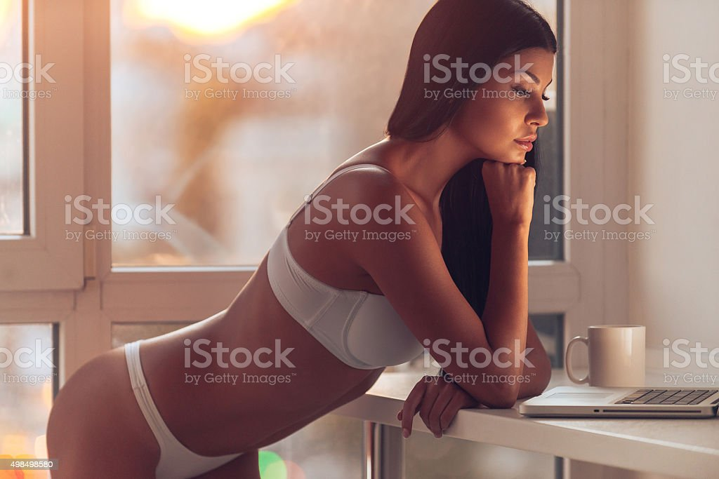 Surfing the net at home. stock photo