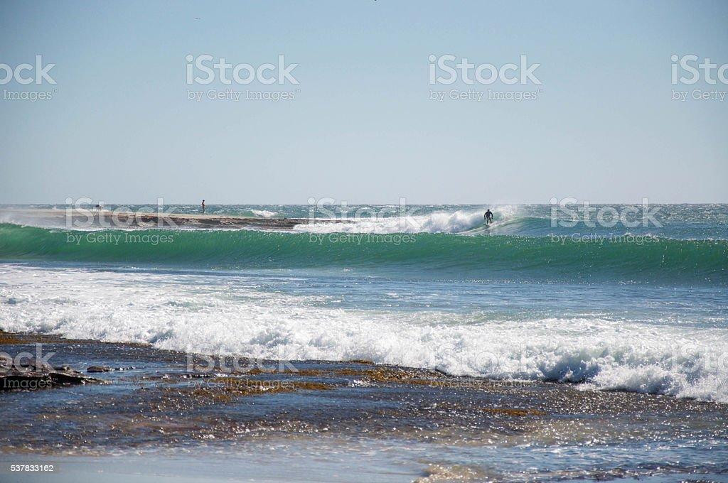 Surfing the Point Break stock photo