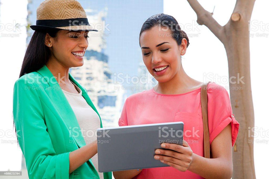 Surfing the web in Dubai Jumeirah Lake Towers stock photo