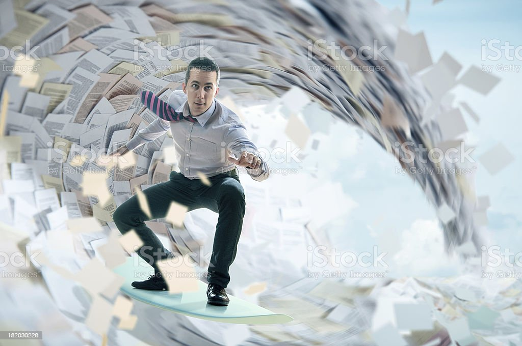 Surfing through documents stock photo