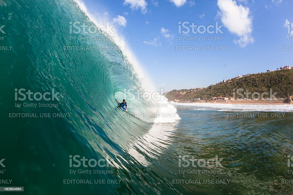 Surfing Tube Ride Wave Ocean stock photo