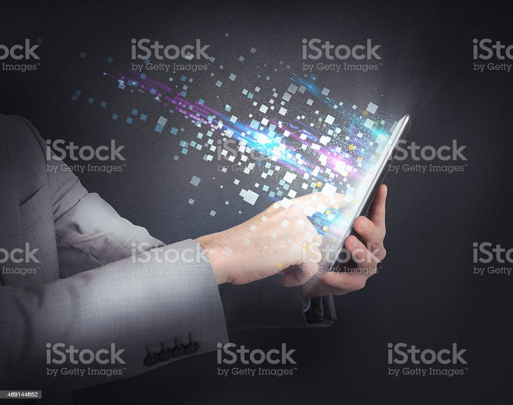 Surfing  with tablet stock photo