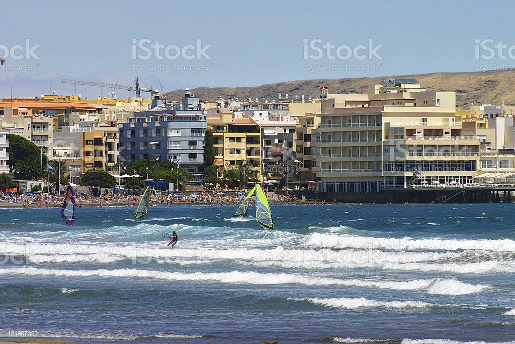 Surflife in El Medano/Tenerife stock photo