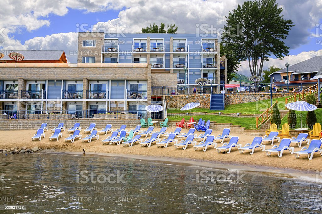 Resort at Lake George, NY. stock photo