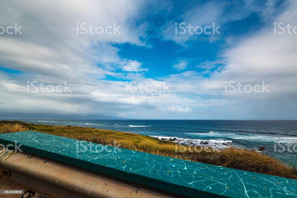 Surf-Watching Perch at Ho'okipa Point stock photo