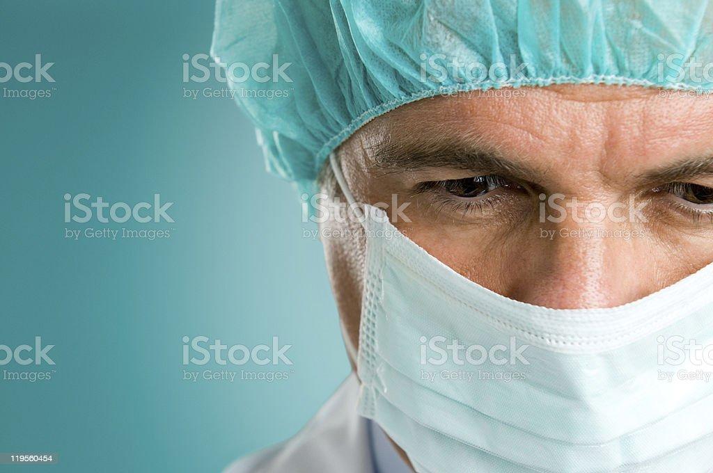 Surgeon face closeup stock photo