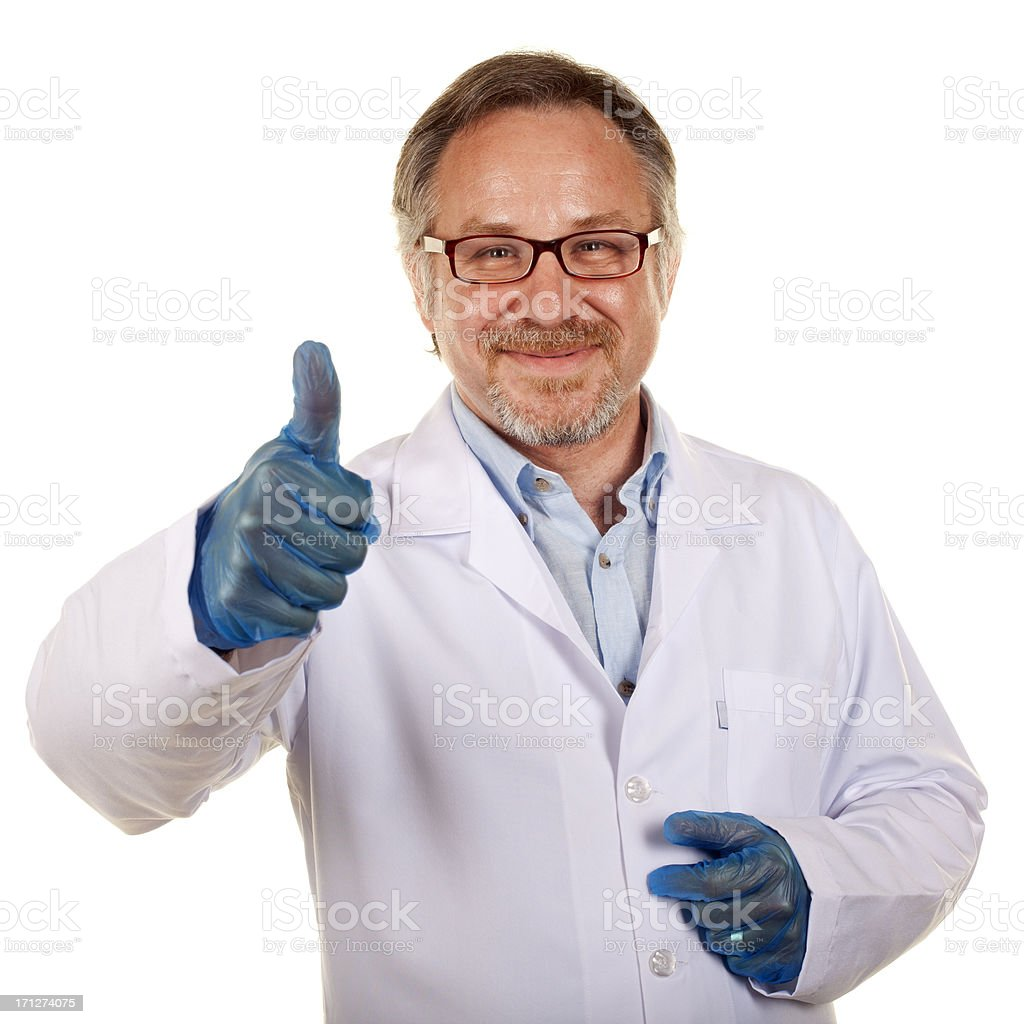 Surgeon Gesturing Thumbs Up - Isolated stock photo