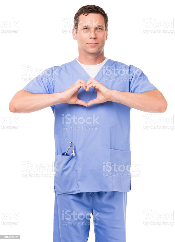 Surgeon in Scrubs Making Heart Sign Isolated on White Background stock photo