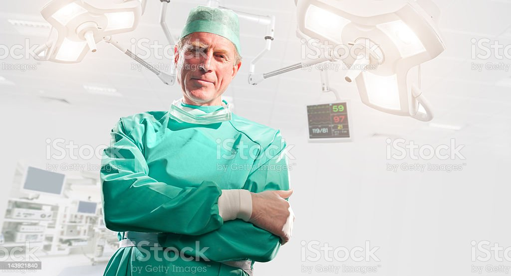 Surgeon Standing With Arms Crossed In Operating Theatre royalty-free stock photo