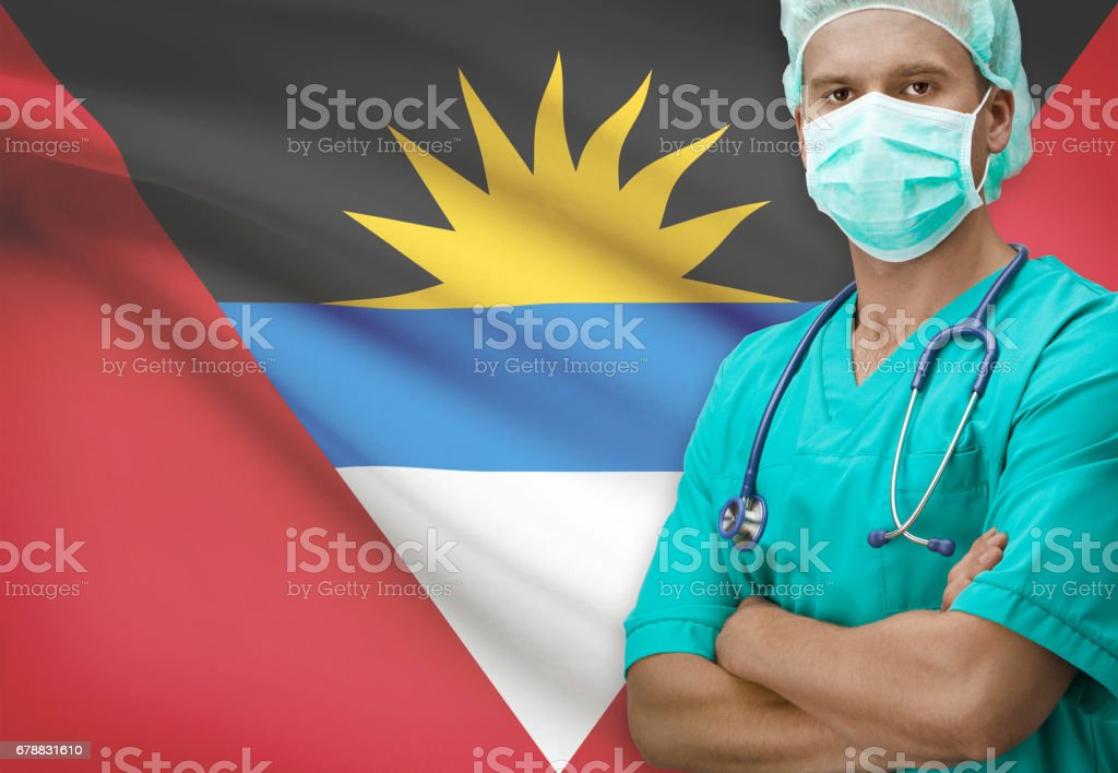 Surgeon with flag on background series - Antigua and Barbuda stock photo
