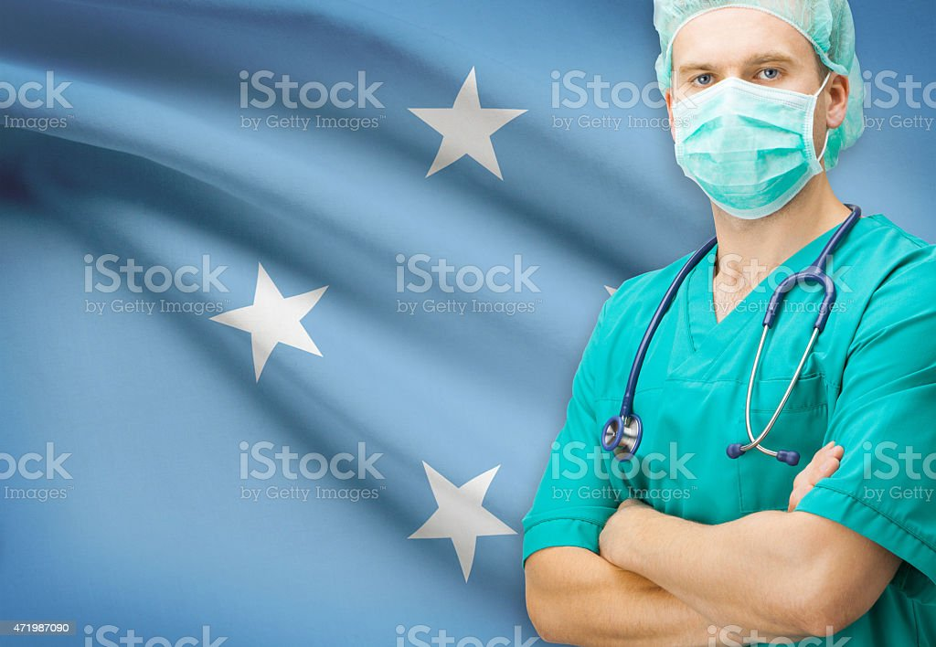 Surgeon with national flag series - Federated States of Micronesia stock photo