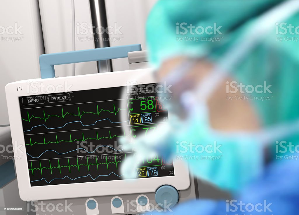 Surgery and intensive care unit monitor, in background stock photo