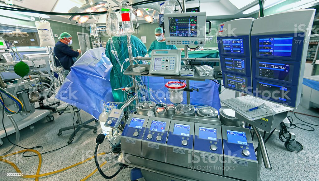 Surgery. Cardiopulmonary bypass machine stock photo