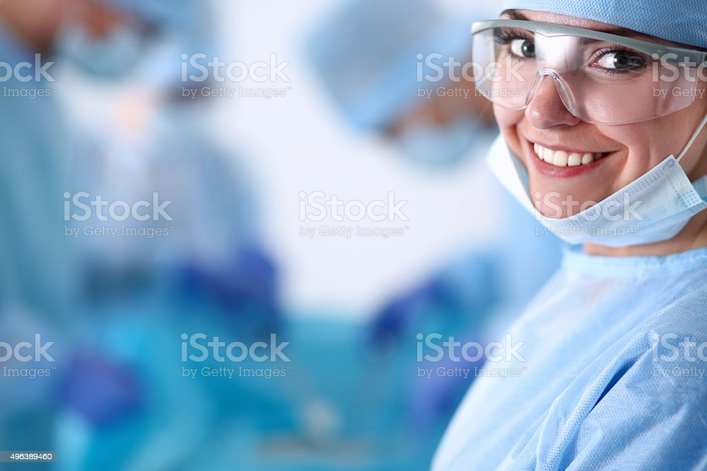 Surgery team in the operating room stock photo