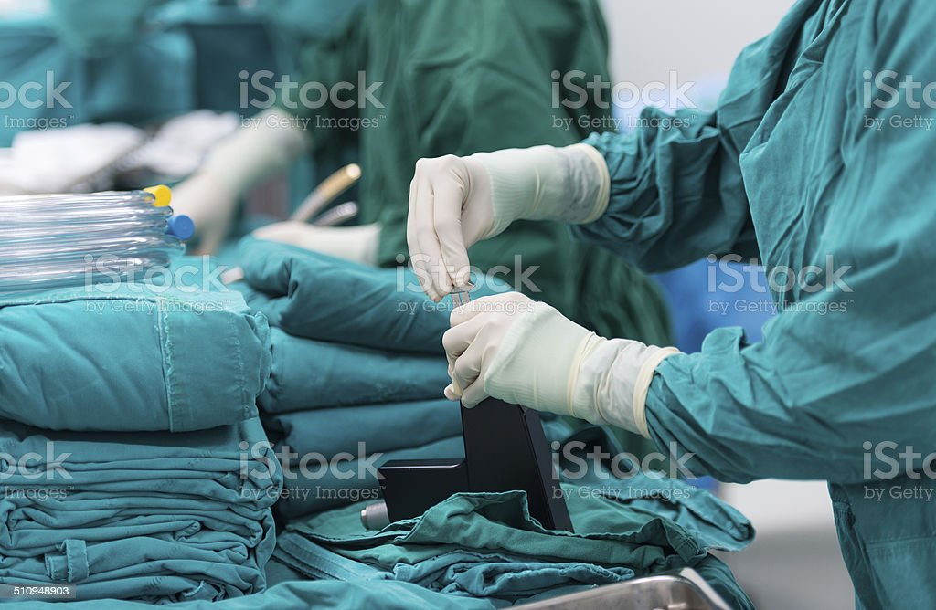 surgical instruments for open heart surgery stock photo