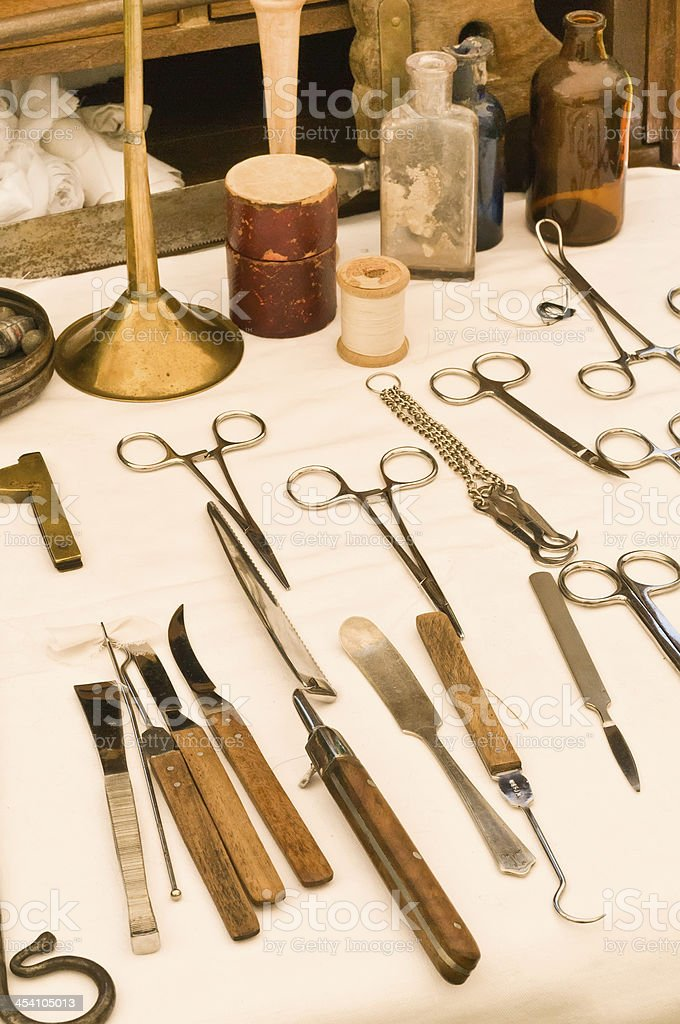 Surgical instruments of 1860s stock photo