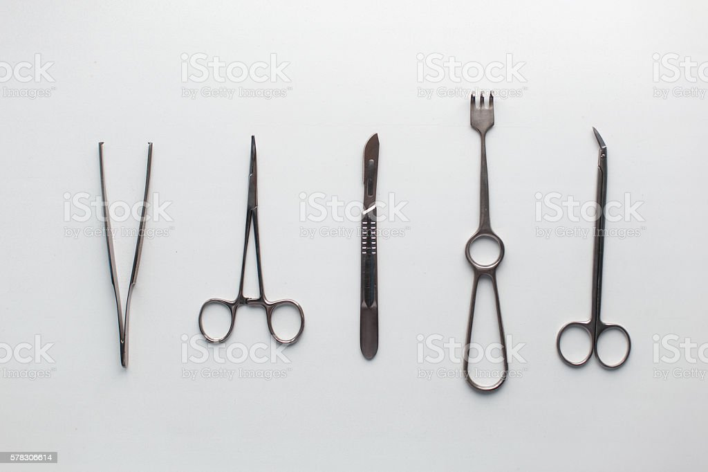 Surgical Instruments (tweezers, pliers, clamp the blade, scalpel) stock photo