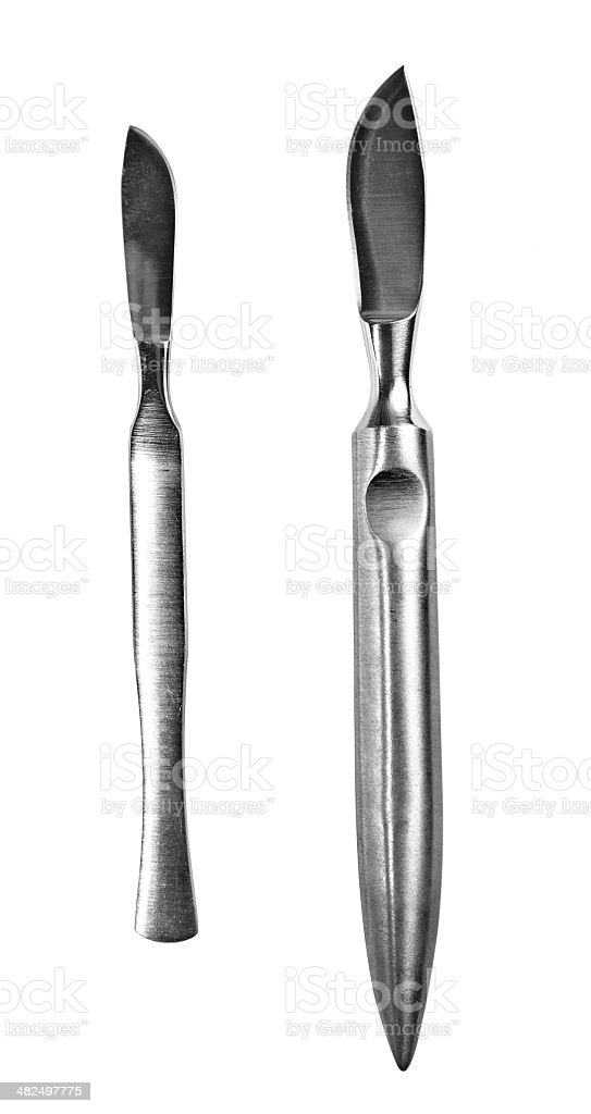surgical scalpels stock photo