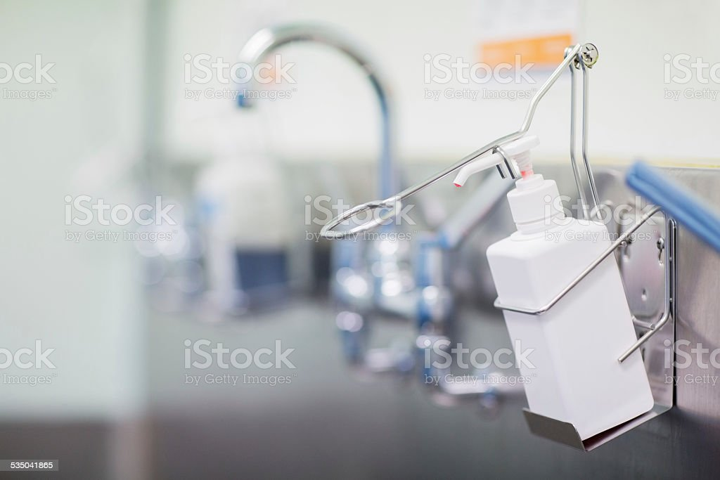 Surgical Scrub Area In Hospital stock photo