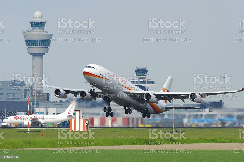 Surinam Airways Airbus A340 taking off stock photo