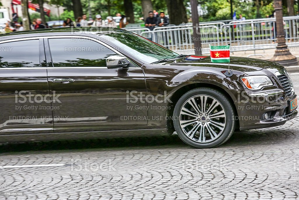 Suriname Diplomatic car during Military parade stock photo