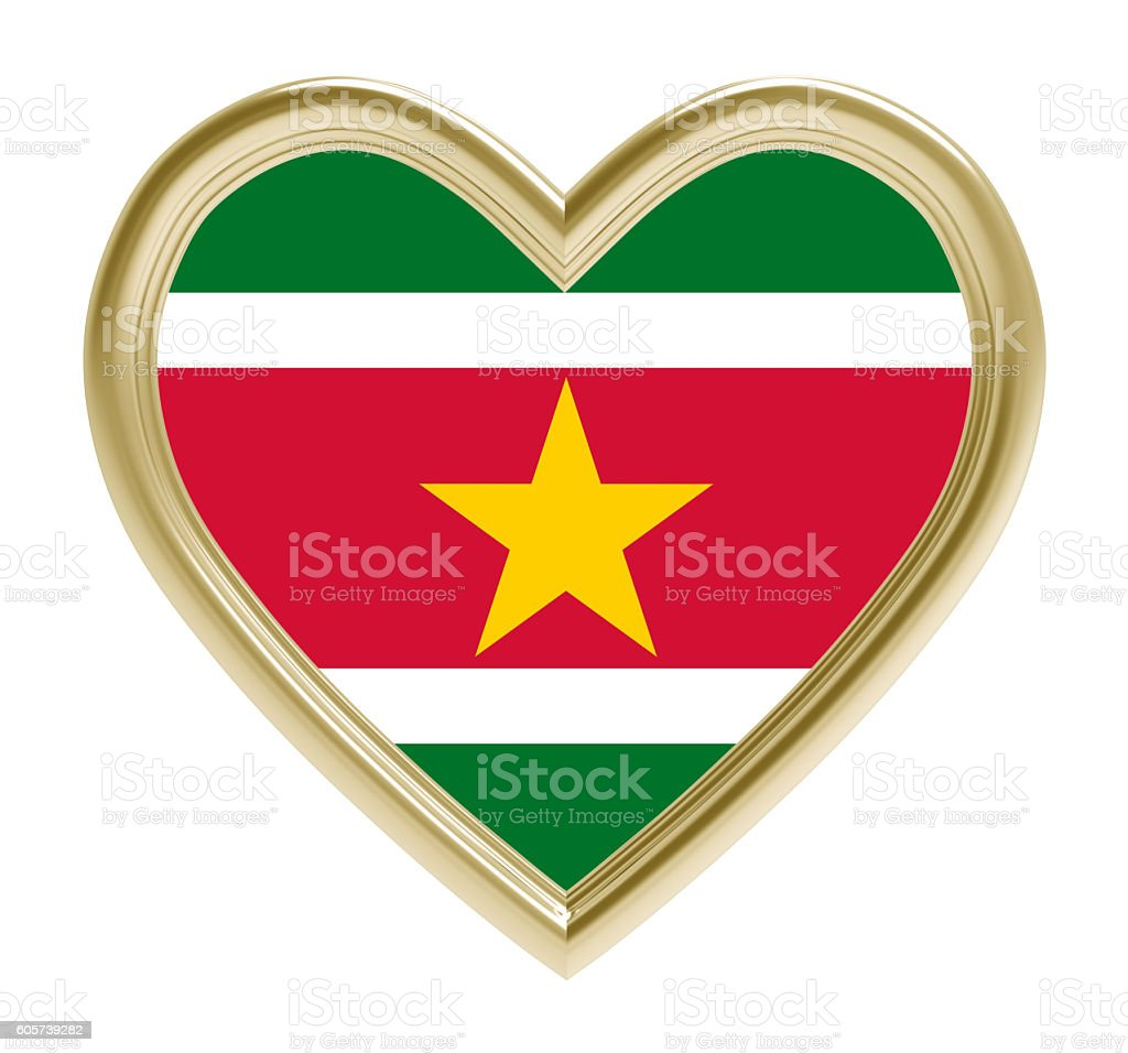 Suriname flag in golden heart isolated on white background. stock photo