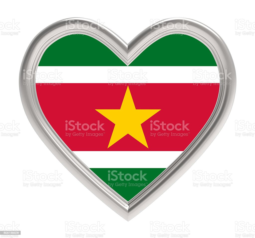 Suriname flag in silver heart isolated on white background. stock photo