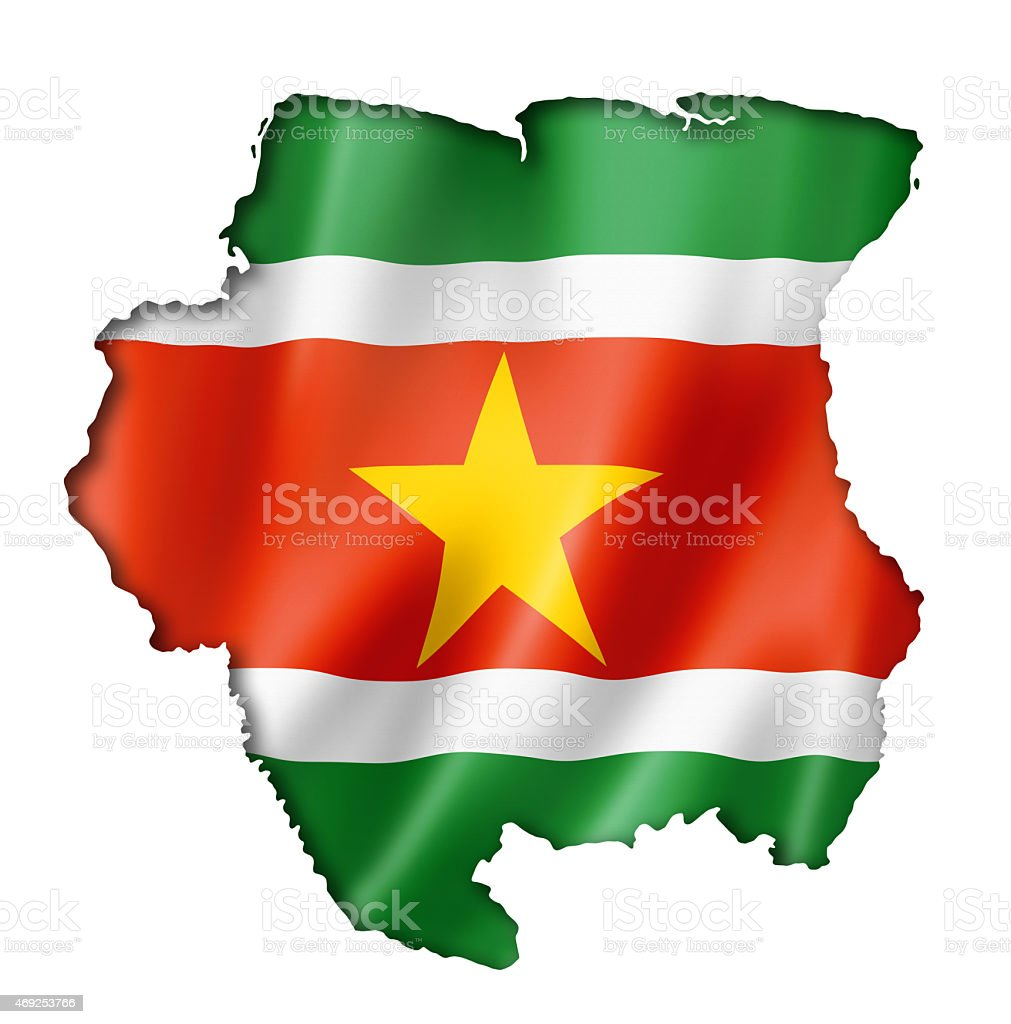 Suriname flag on a map stock photo