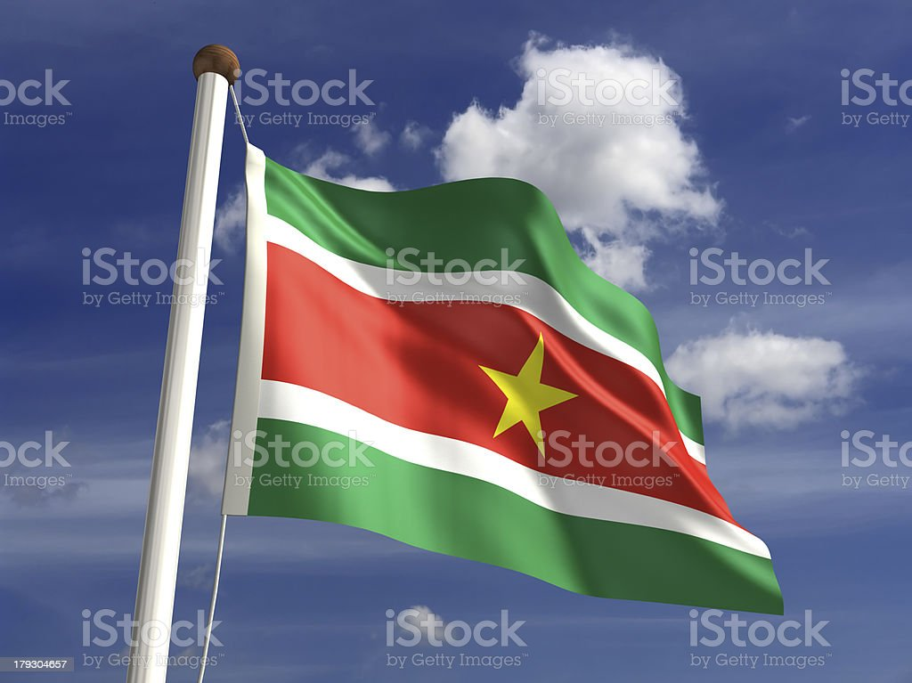 Suriname flag (with clipping path) stock photo