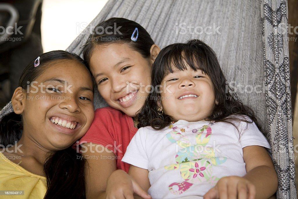 Suriname, Galibi.  Children in Hammock. stock photo