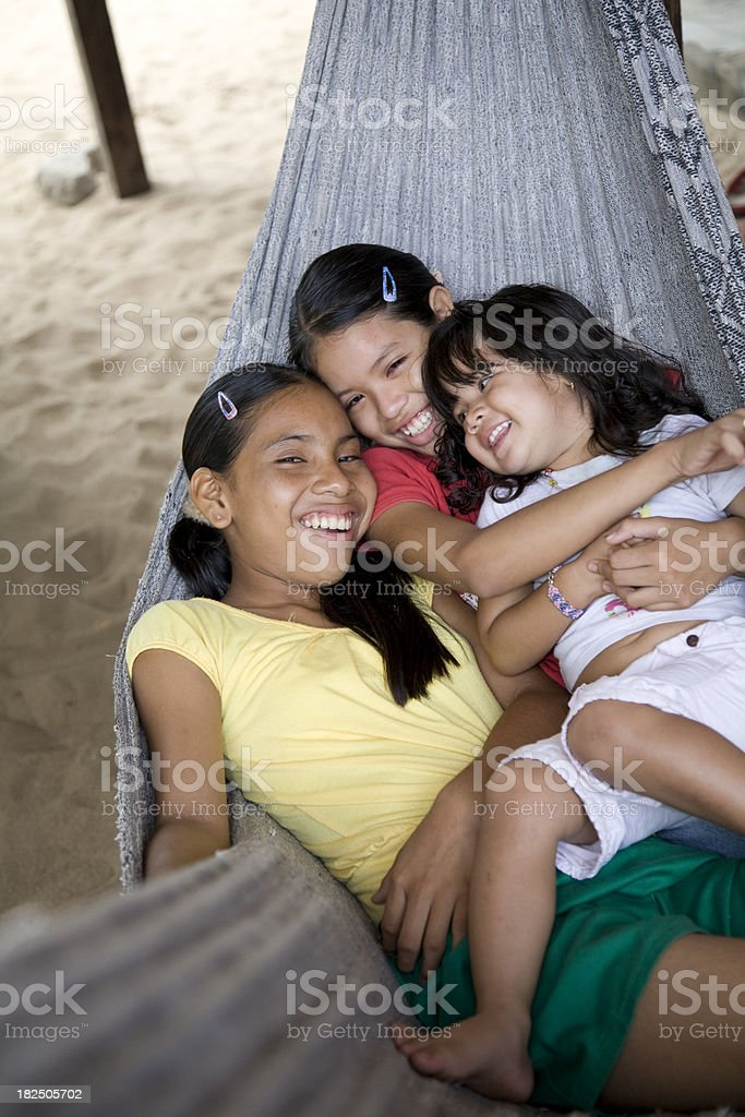 Suriname, Galibi.  Children in Hammock. royalty-free stock photo
