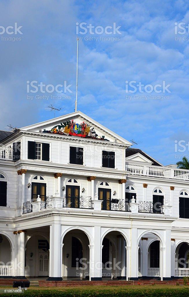 Suriname, Paramaribo: Presidential Palace main entrance stock photo