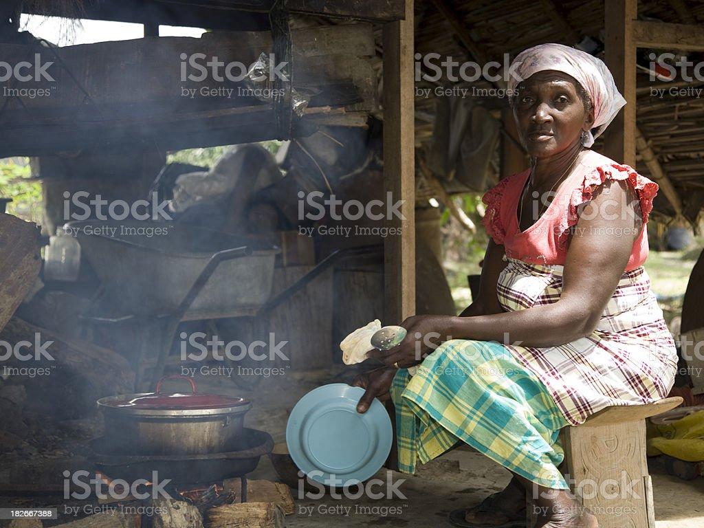 Suriname, preparing food. stock photo