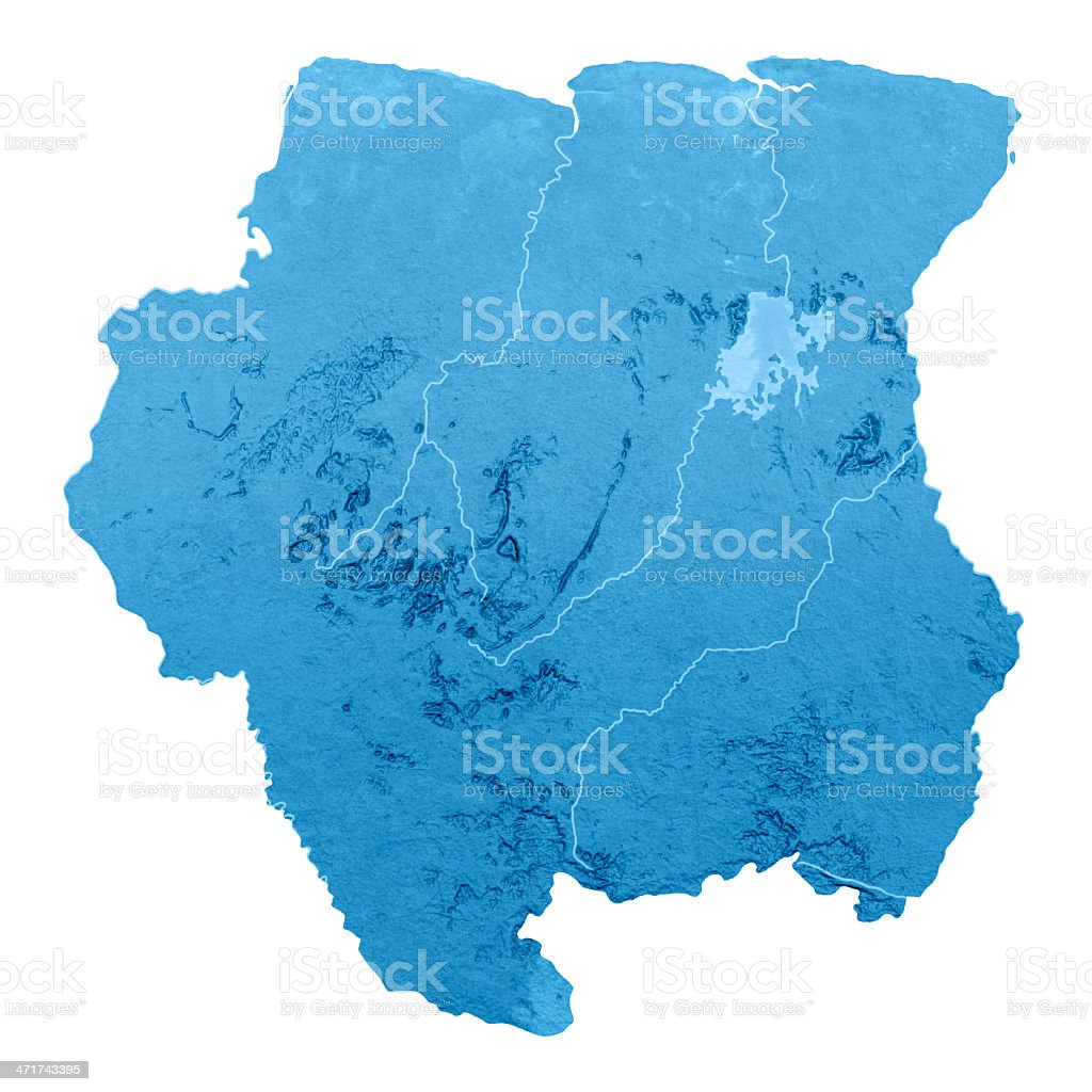 Suriname Topographic Map Isolated stock photo